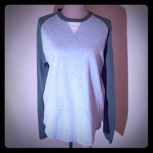 True Grit grey and green baseball style tee